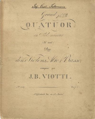 Offenbach s/M: J. André , 1816. Folio. Unbound. Violino primo: 7 pp.; Violino secondo: 7 pp.; Viola...