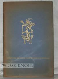 Mainz: Gutenberg-Gesellschaft, 1936. stiff paper wrappers, cord-tied. 8vo. stiff paper wrappers, cor...
