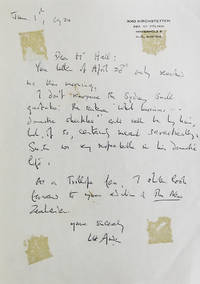 Autograph letter signed (W.H. Auden), 1 p, to N. John Hall