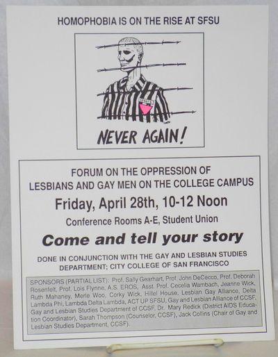 San Francisco: Gay and Lesbian Studies Dept. City College, SF, 1989. Single 8.5x11 inch handbill pri...