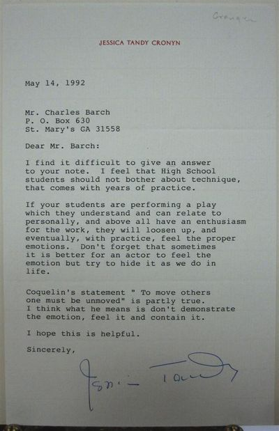 1992. unbound. 1 page, 8.5 x 5.5 inches, no place, May 14, 1992. Thoughtful letter to a high school ...