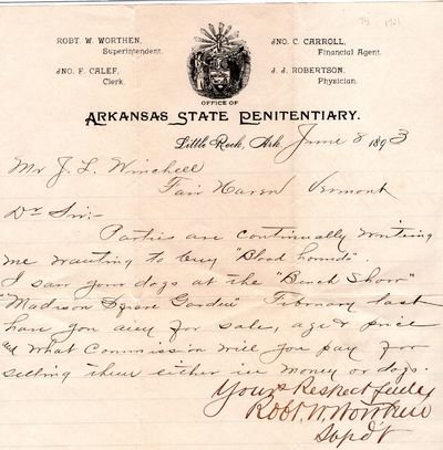 Arkansas , 1893 . Letter. Very good. In a letter to a Mr. J. L. Winchell of Fair Haven Vermont, Mr. ...