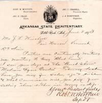 1893 Letter from Superintendent of Arkansas State Penitentiary on illustrated prison letterhead requesting info on wholesaling Blood Hounds to interested parties