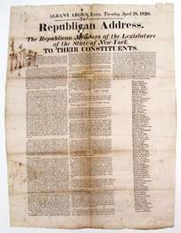 REPUBLICAN ADDRESS. THE REPUBLICAN MEMBERS OF THE LEGISLATURE OF THE STATE OF NEW-YORK, TO THEIR CONSTITUENTS by  Daniel] [Tompkins - 1820 - from David M. Lesser, Fine Antiquarian Books LLC (SKU: 33009)
