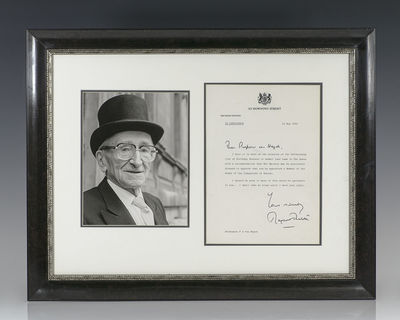1984. Exceptional letter signed by Prime Minister Margaret Thatcher to Nobel Prize-winning economist...