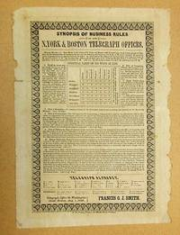 SYNOPSIS OF BUSINESS RULES OF THE N. YORK & BOSTON TELEGRAPH OFFICES by  Francis O.J Smith - 1846 - from David M. Lesser, Fine Antiquarian Books LLC and Biblio.com