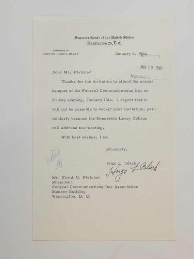 Washington, 1961. unbound. very good. Excellent content T.L.S. 8vo. 1 page, Supreme Court of the Uni...