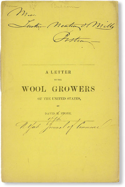 N.p., ca. 1854. First Edition. Paperback. Letter written in response to a reduction of duty on impor...