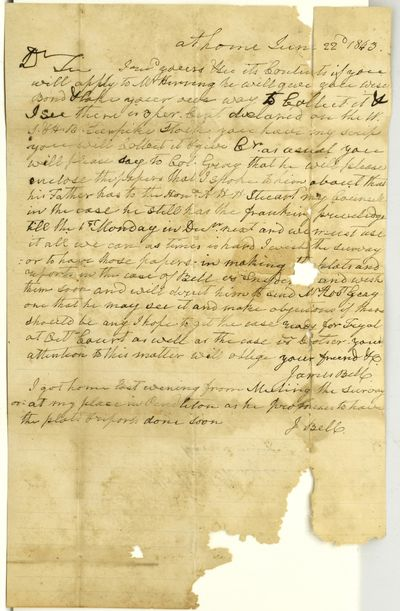 A single page letter with loss affecting a small amount of the writing. From James Bell of Staunton ...