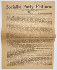 image of Socialist Party platform; adopted by national convention, May 1908, and by membership referendum August 8th, 1908. Amended by referendum September 7th, 1909