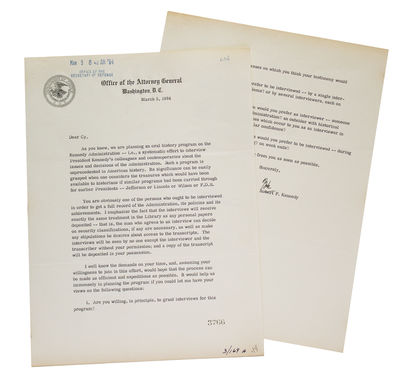 Washington, D.C., 1964. 2pp. Office of the Attorney General letterhead. Inked stamps of the Office o...