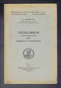 Textes Birom, (Nigeria septentrional) avec traduction et commentaires, Fascicule CLXXXVI, Bibliotheque de la Faculte de Philosophie et Lettres de l'Universite de Liege