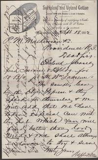 1882 Savannah Executive Orders for Sea Island and Upland Cotton Invoice for 50 Bales of Cotton