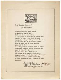 [Broadside]: To a Growing Community (for Allen Ginsberg) by  Alan S MARLOWE - Signed First Edition - 1968 - from Between the Covers- Rare Books, Inc. ABAA and Biblio.co.uk
