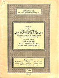 Sale 17-18 October 1960: The Valuable and Extensive Library, the Property  of the Late Sir Robert Leighton. Fine Bindings, Early Printed Books and a  Few Manuscripts.