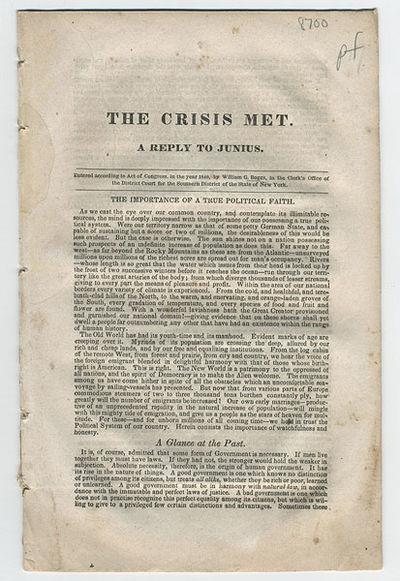 New York: , 1840. 8vo. 16 pp. Anti-Whig and pro–Van Buren tract by this progressivist and Jacksoni...