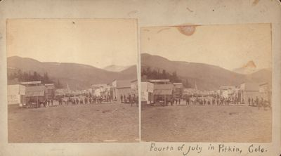 Good. Stereoview of Pitkin, Colorado a mining town located in central Colorado. Stereoview on buff m...