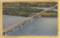 New Susquehanna River Bridge near Perryville, Maryland 1953 used linen Postcard