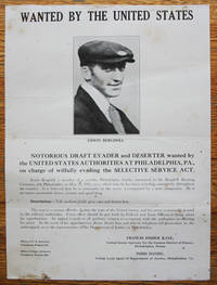 """""""Wanted by the United States"""" notorious draft evader and deserter, Erwin Bergdoll, of the Philadelphia, Pennsylvania Brewery Family, 1918"""