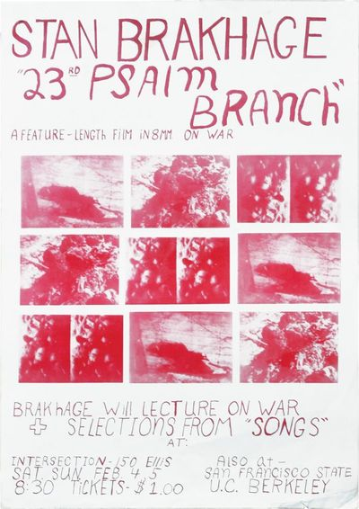 N.p.: Stan Brakhage, 1967. Original two color hand printed poster advertising the two first public s...