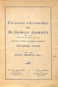Vente 9 Juin 1947 : Collection D'autographes De M.Georges Andrieux  1883-945. Quelques Livres Illustrés Modernes Deuxième Vente.