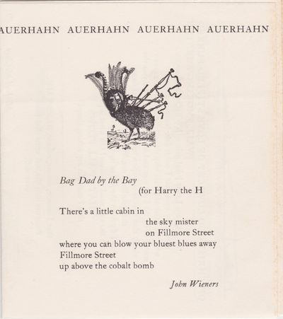 : Auerhahn Press, No date but ca. 1959. First Edition, First Printing. Single sheet folded to create...