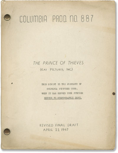 Culver City, CA: Columbia Pictures, 1947. Final Draft script for the 1948 film. Holograph annotation...