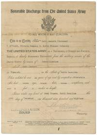 image of WWI Honorable Discharge for Black Soldier Seth Jennett