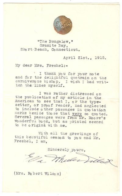 Typed Letter, signed, dated April...