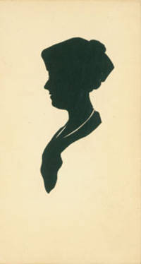 Post Card With Silhouette. Woodcut.
