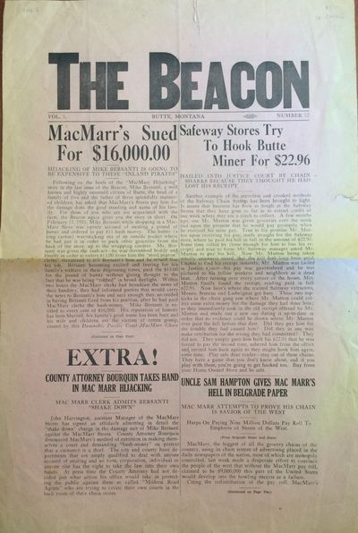 Butte, MT: The Beacon. Good. Newspaper. Newspaper from Butte, Montana printed circa 1931, the conten...