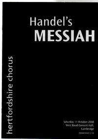 Handel's Messiah Performed By the Hertfordshire Chorus  ( CONCERT PROGRAMME)