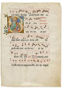 Illuminated Leaf from a Medieval Gradual with a miniature of Saint Paul and musical notation
