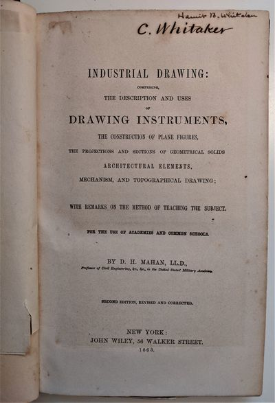 New York: John Wiley, 1863. 8vo. 240 x 150 mm., . xvi, 156, pp. Illustrated with 20 folding di...