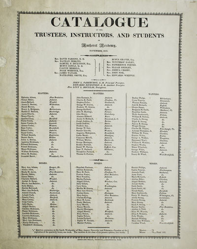 Greenfield, Mass: Denio and Phelps, Printers, 1818. Printed broadside with type ornament border. Fol...