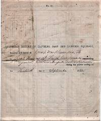 QUARTERLY RETURN OF CLOTHING, CAMP AND GARRISON EQUIPAGE,  RECEIVED AND ISSUED AT CAMP NEAR ALEXANDRIA, VA BY LIEUT. THOMAS J. LEIGH, QUARTERMASTER, 2ND REGIMENT, EXCELSIOR BRIGADE, SICLES DIVISION, DURING THE QUARTER ENDING ON THE THIRTIETH DAY OF SEPTEMBER, 1862