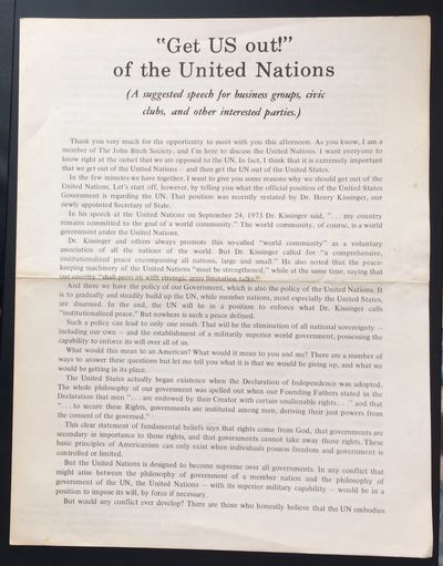 Belmont, MA: John Birch Society, . Four-page brochure, 8.5x11 inches, horizontal fold crease, with t...