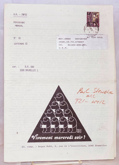 Bruxelles: Antenne Rose, 1982. Two issues, 8.25x11.75 inches, text in French, photos, articles, inte...