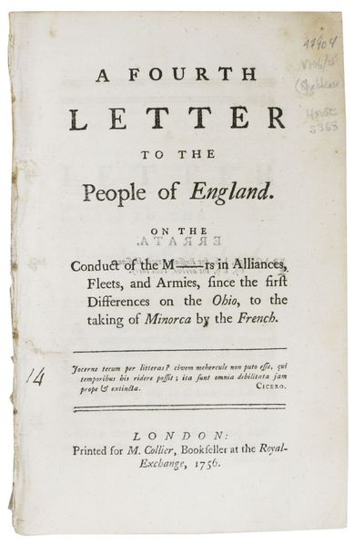 London: Printed for M. Collier, Bookseller at the Royal-Exchange, 1756. 1st Edition (Howes S368; Sab...
