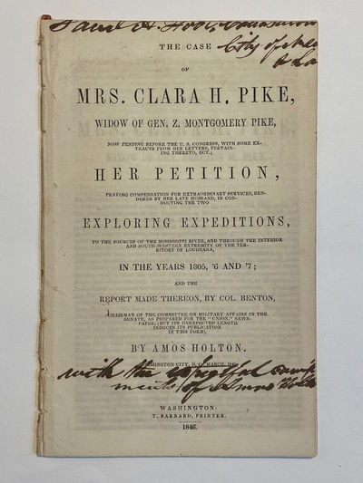 Washington DC: T. Barnard, Printer, 1846. Very good. 8vo. 16 pp. + final blank. Extracted from a bou...