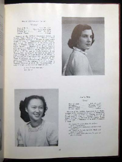 New York, NY: The Chapin School, 1949. 36 pages; illustrated with black and white class-photo images...