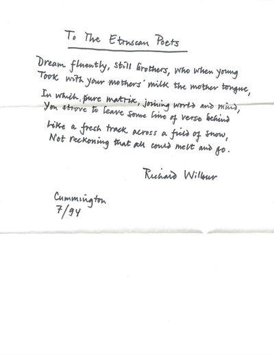 Cummington, 1994. Original manuscript (ALS) of a single poem, signed and dated by Wilbur below the p...