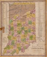 THE TRAVELLERS POCKET MAP OF INDIANA WITH ITS ROADS & DISTANCES.