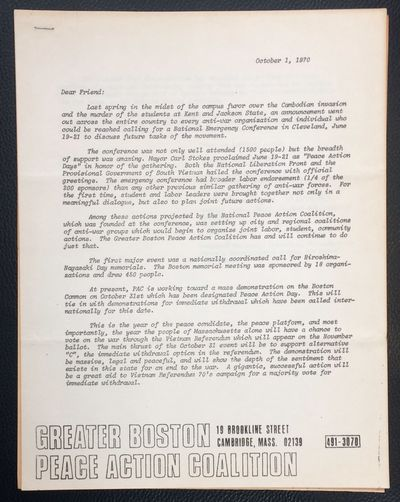 Cambridge, MA: the Coalition, 1970. 8.5x11 inch packet, five pages, some pages are toned newsprint, ...