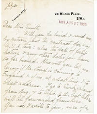 image of [2 AUTOGRAPH LETTERS]:  AUTOGRAPH LETTER TO J. B. POND'S SECRETARY AND A 2-PAGE AUTOGRAPH LETTER TO POND, BOTH SIGNED BY ENGLISH EXPLORER ROSITA FORBES, TOGETHER WITH A COPY OF HER 1925-26 CONTRACT.