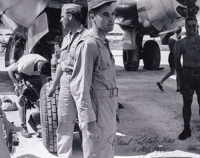 Rare black and white photograph of the pilot of the Enola Gay, Paul Tibbets. Signed and dated by Tib...