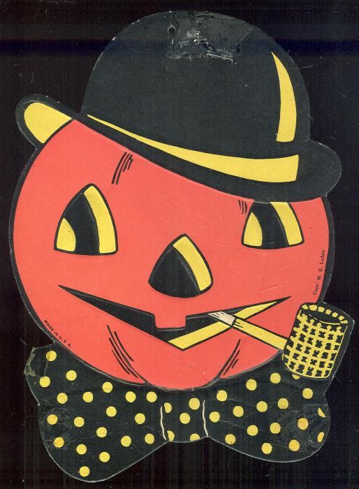 JACK O' LANTERN WITH HAT CARDBOARD DECORATION, Halloween