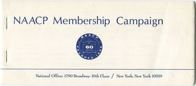 New York: NAACP, 1969. Softcover. Fine. Stapled oblong self-wrappers. Fine and unused. A booklet of ...