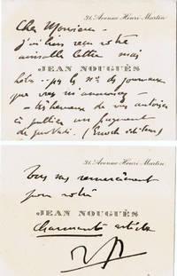 Deux cartes de visite autographes signées