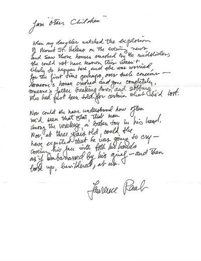 Williamstown, 1995. Original manuscript (ALS) of single poem, signed Lawrence Raab below the poem, w...